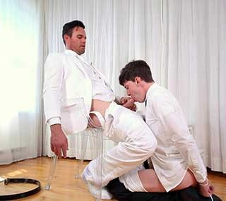 President Beau Reed is very pleased with Elder Edward Terrant so far, but he must submit him to a test of trust now. President Beau ties Elder Edward's hands behind him and proceeds to teach him how real carnal pleasure feels like.
