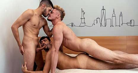 Some guys need a dinner date, flowers and candy. These three raw Latin bareback fuckers barely need a hello before they're tackling each other to the bed and sticking dicks into the nearest hole.