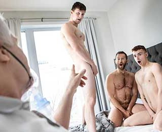 Tanner Hall brings home his boyfriend, Ryan Jacobs, for a visit to his sick dad, but the horny couple are more interested in getting to know hot healthcare worker Finn Harding.