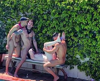 What better way to cool down on a hot summer day than to fuck around with your friends poolside? Dakota Payne, Devyn Pauly, Jax Thirio, and Max Lorde get wet in this hot homemade fuckfest.