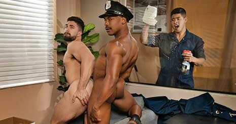 Captain Adrian Hart of Precinct 69 is working on some paperwork when he starts feeling horny. He checks that the coast is clear before he takes his dick out, but Officer Nick LA walks into his office and catches him.